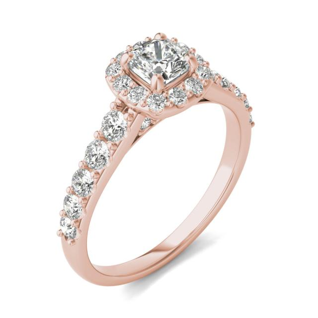 1 1/5 CTW Cushion Caydia Lab Grown Diamond Shared Prong Halo Engagement Ring 18K Rose Gold