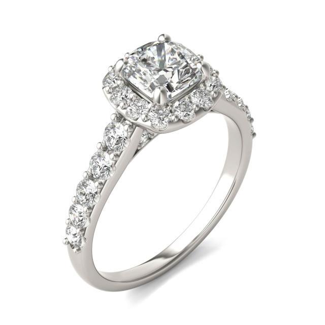 1 3/4 CTW Cushion Caydia Lab Grown Diamond Shared Prong Halo Engagement Ring Platinum