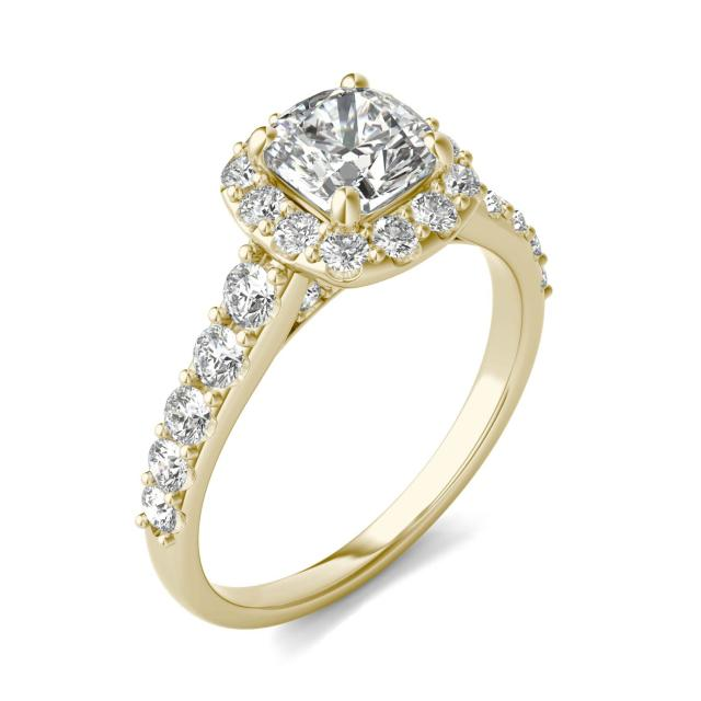 1 3/4 CTW Cushion Caydia Lab Grown Diamond Shared Prong Halo Engagement Ring 18K Yellow Gold