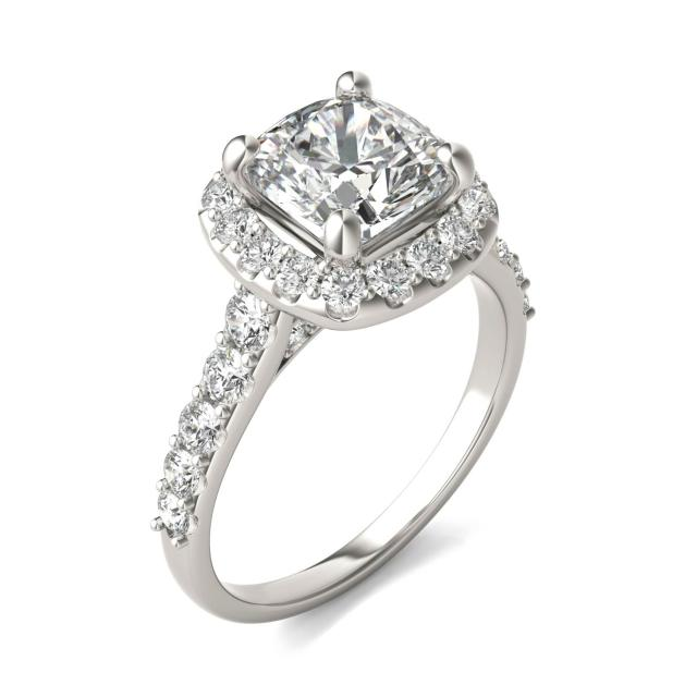 2 7/8 CTW Cushion Caydia Lab Grown Diamond Shared Prong Halo Engagement Ring 14K White Gold