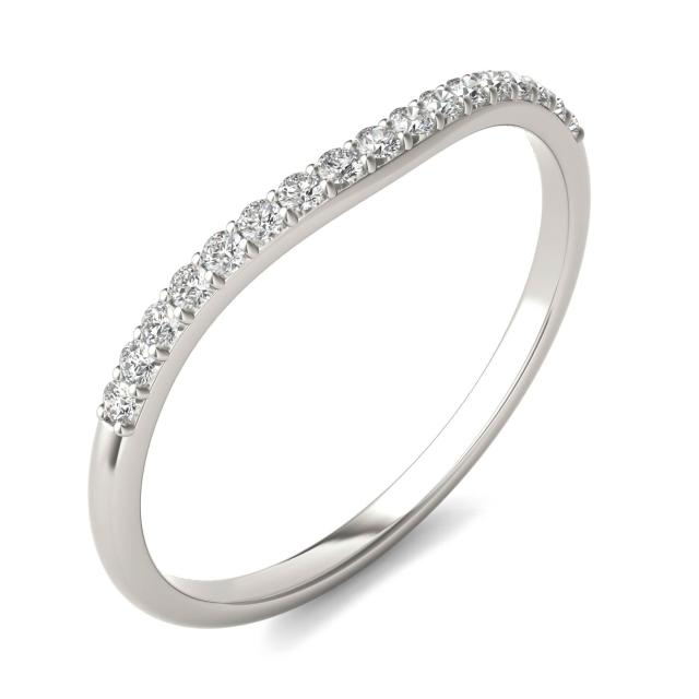 Signature Curved Matching Wedding Band with Accents in 14K White Gold