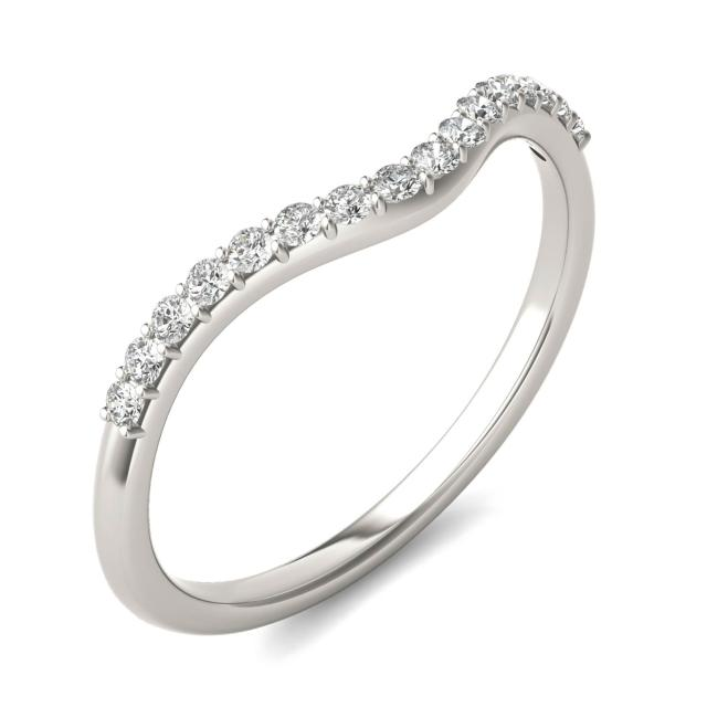 0.17 CTW Round Forever One Moissanite Signature Curved Matching Wedding Band 14K White Gold