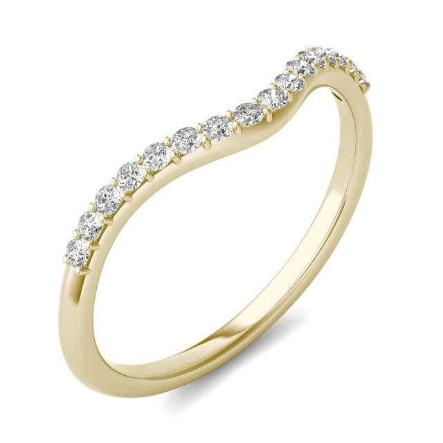 0.17 CTW Round Forever One Moissanite Signature Curved Matching Wedding Band 14K Yellow Gold