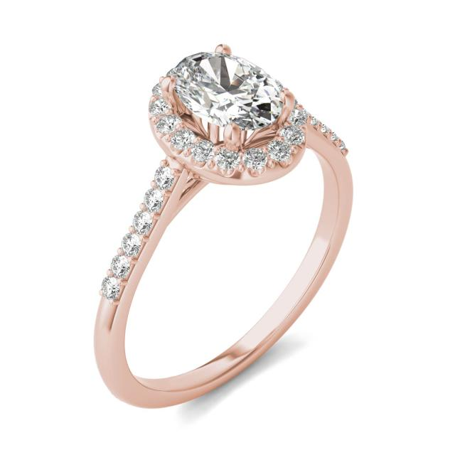 1 1/3 CTW Oval Caydia Lab Grown Diamond Signature Halo with Side Accents Engagement Ring 18K Rose Gold
