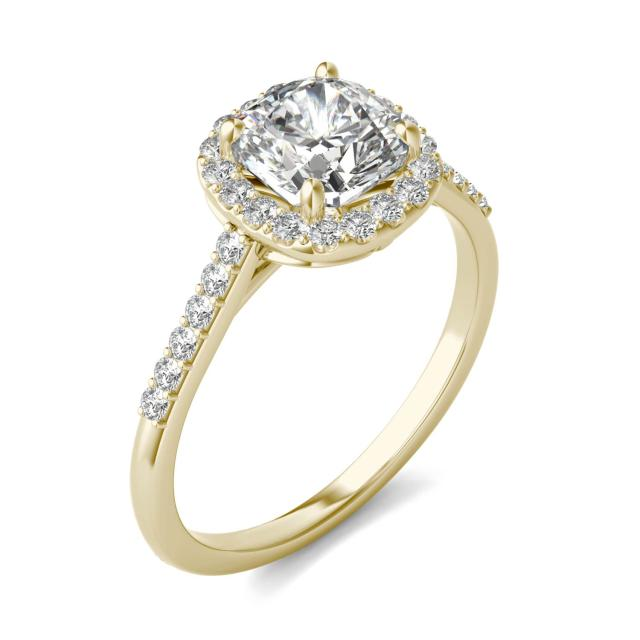 1 7/8 CTW Cushion Caydia Lab Grown Diamond Signature Halo with Side Accents Engagement Ring 18K Yellow Gold