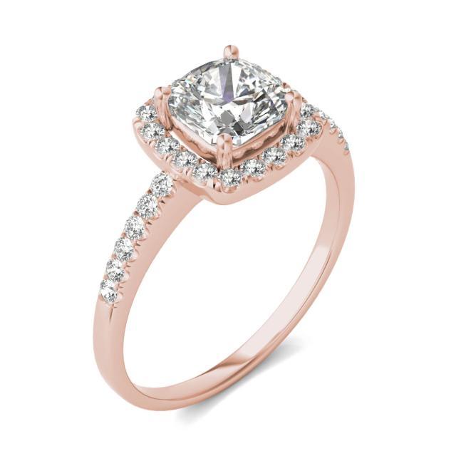 1 1/3 CTW Cushion Caydia Lab Grown Diamond Halo Engagement Ring 14K Rose Gold