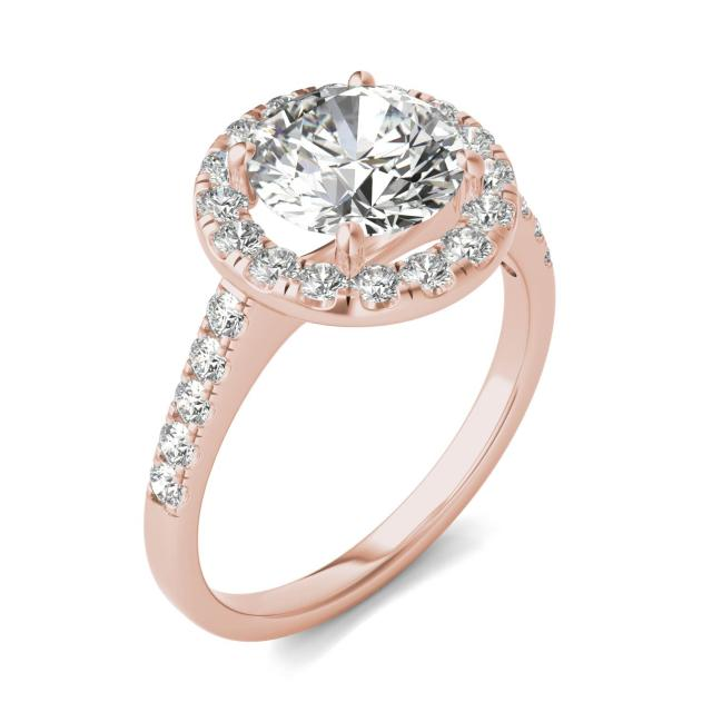 2 5/8 CTW Round Caydia Lab Grown Diamond Halo Engagement Ring 14K Rose Gold