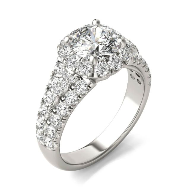 2 1/2 CTW Round Caydia Lab Grown Diamond Signature Halo Pave Engagement Ring 18K White Gold