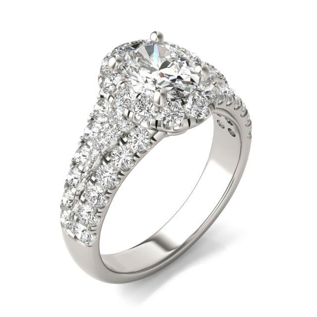 2 3/4 CTW Oval Caydia Lab Grown Diamond Signature Halo Pave Engagement Ring Platinum
