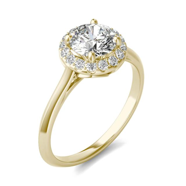 1 1/6 CTW Round Caydia Lab Grown Diamond Halo Ring 18K Yellow Gold