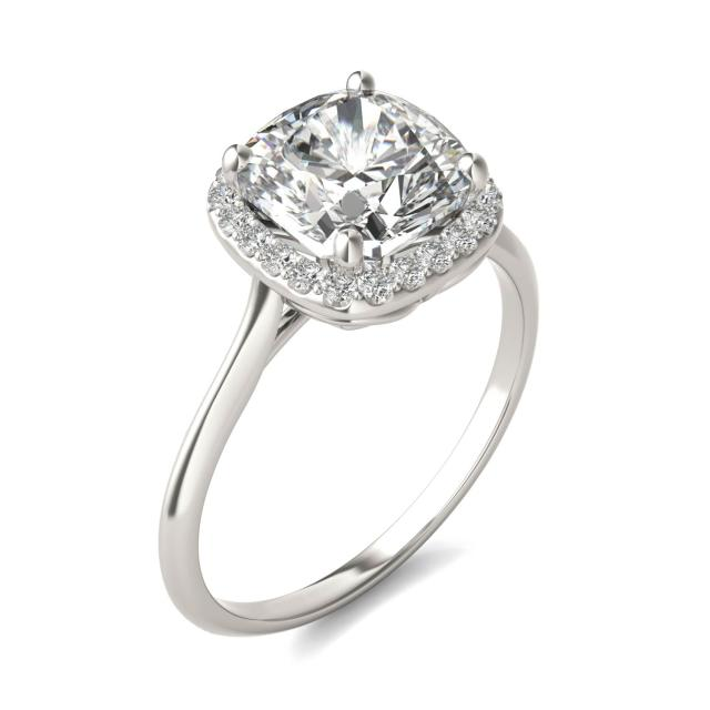 2 3/4 CTW Cushion Caydia Lab Grown Diamond Signature Halo Engagement Ring 18K White Gold