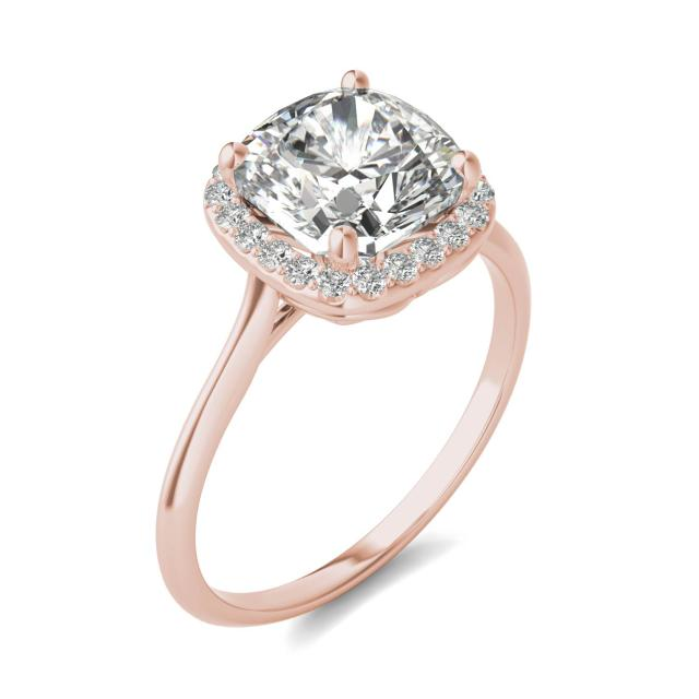 2 3/4 CTW Cushion Caydia Lab Grown Diamond Signature Halo Engagement Ring 18K Rose Gold