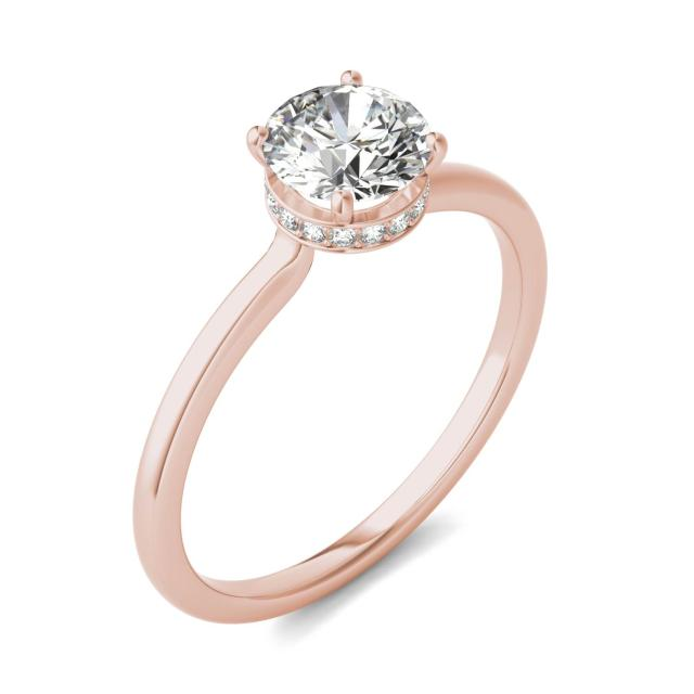 7/8 CTW Round Caydia Lab Grown Diamond Hidden Halo Solitaire Ring 18K Rose Gold