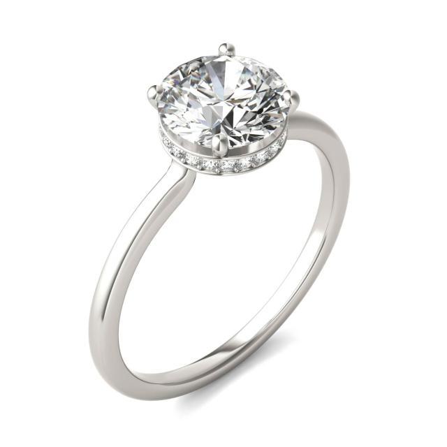 1 5/8 CTW Round Caydia Lab Grown Diamond Hidden Halo Solitaire Ring Platinum