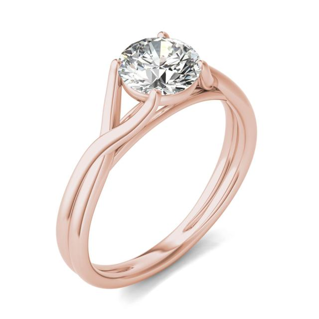 1 CTW Round Caydia Lab Grown Diamond Interlaced Solitaire Engagement Ring 14K Rose Gold