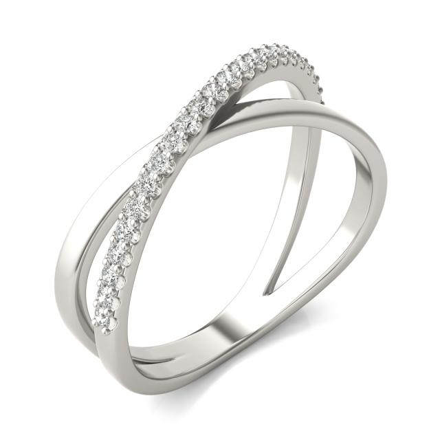 1/6 CTW Round Caydia Lab Grown Diamond Crossover Ring 14K White Gold