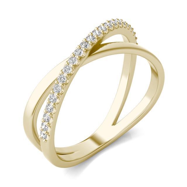 1/6 CTW Round Caydia Lab Grown Diamond Crossover Ring 14K Yellow Gold