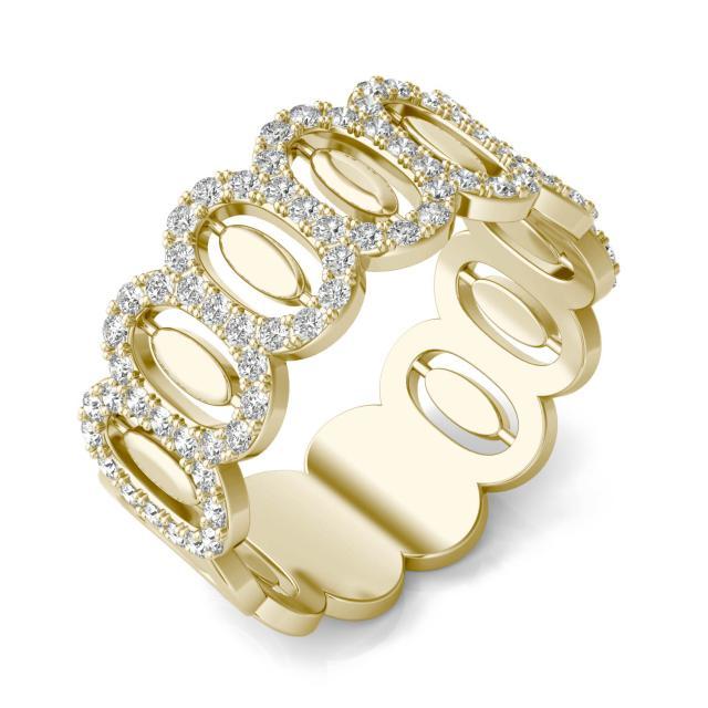2/3 CTW Round Caydia Lab Grown Diamond Oval Fashion Ring 14K Yellow Gold