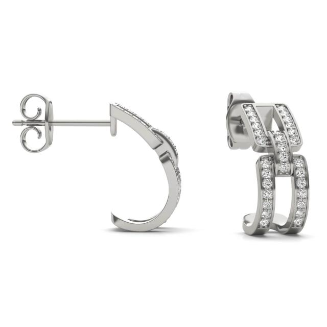 1/3 CTW Round Caydia Lab Grown Diamond Chain Link Hoop Earrings 14K White Gold