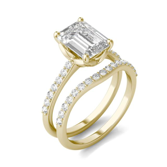 3.01 CTW Emerald Forever One Moissanite Signature Solitaire with Side Accents Wedding Set in 14K Yellow Gold