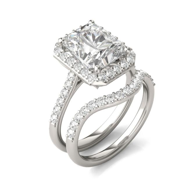 4.82 CTW Radiant Forever One Moissanite Signature Halo with Side Accents Wedding Set in 14K White Gold