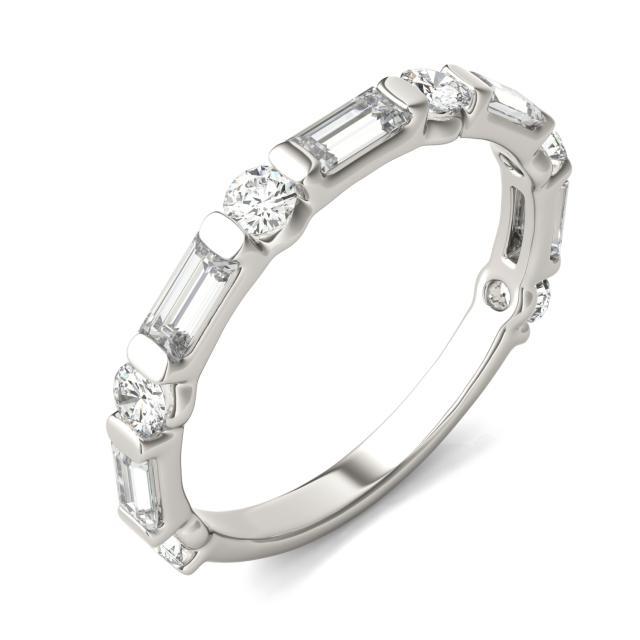 0.94 CTW Straight Baguette Forever One Moissanite Ring in Platinum