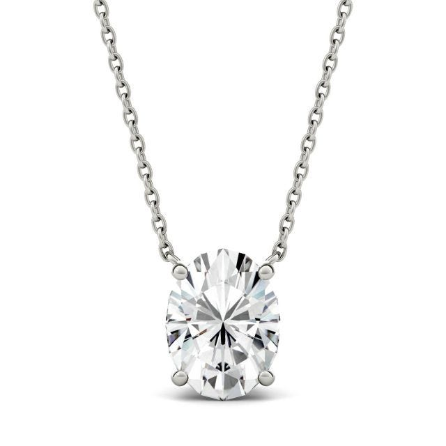 1.50 CTW Oval Forever One Moissanite Solitaire Pendant in 14K White Gold