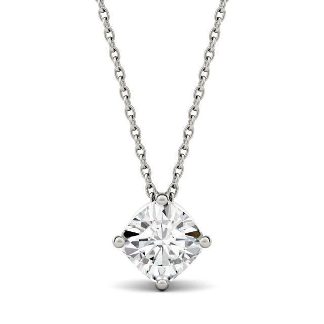 1.70 CTW Cushion Forever One Moissanite Solitaire Pendant in 14K White Gold