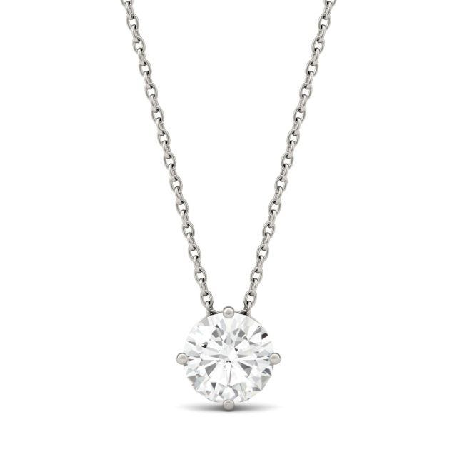 1.00 CTW Round Forever One Moissanite Solitaire Pendant in 14K White Gold