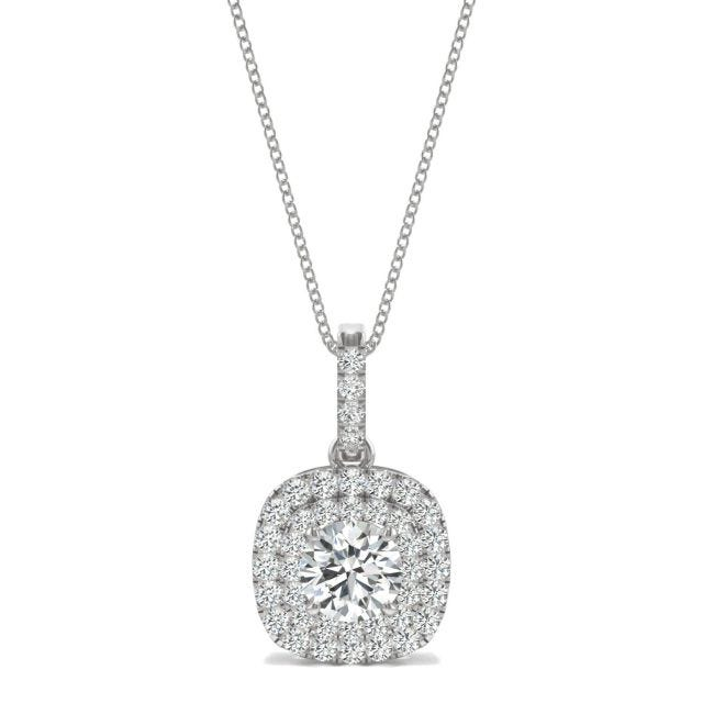 1.13 CTW Round Forever One Moissanite Double Halo Necklace in 14K White Gold