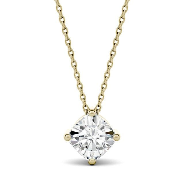 2.00 CTW Cushion Forever One Moissanite Solitaire Pendant in 14K Yellow Gold