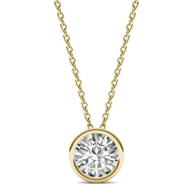 1.00 CTW Round Forever One Moissanite Bezel Set Solitaire Pendant in 14K Yellow Gold