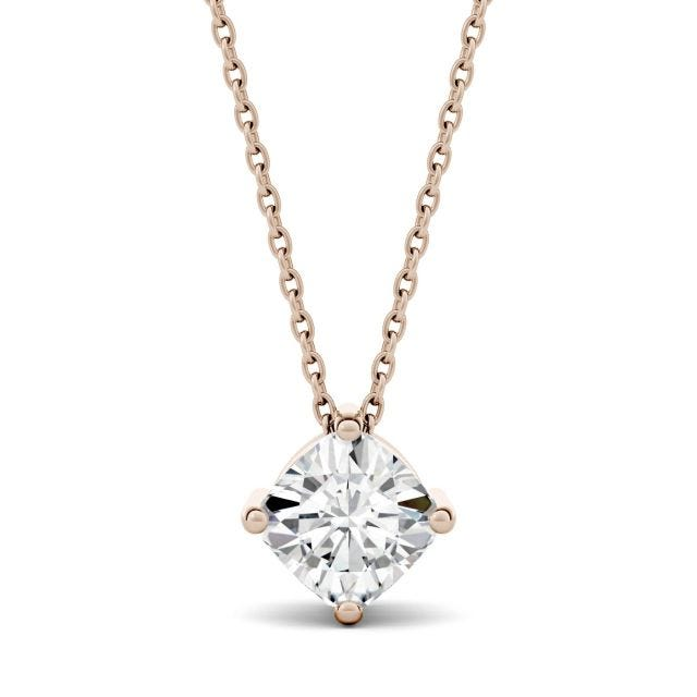 1.10 CTW Cushion Forever One Moissanite Solitaire Pendant in 14K Rose Gold