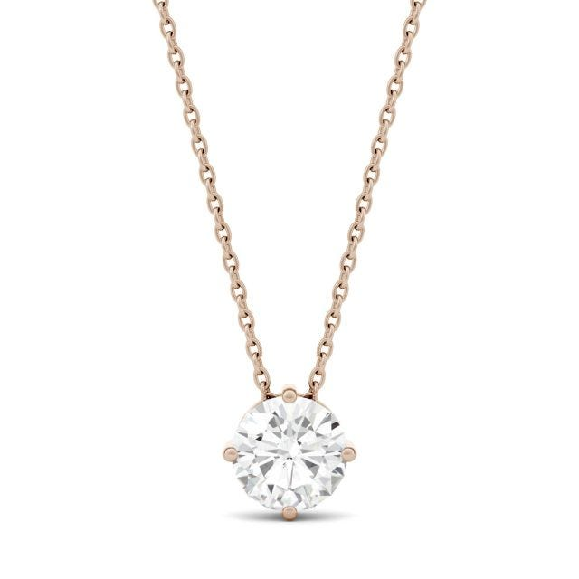 1.00 CTW Round Forever One Moissanite Solitaire Pendant in 14K Rose Gold