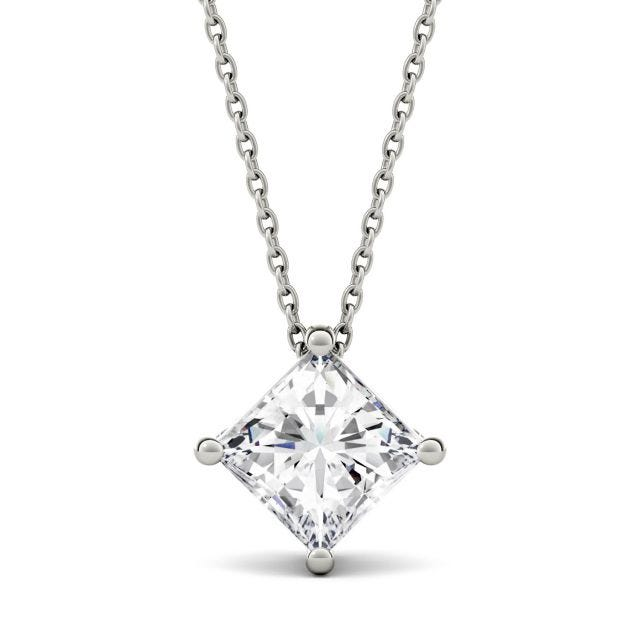 1.50 CTW Princess Forever One Moissanite Solitaire Necklace in 14K White Gold