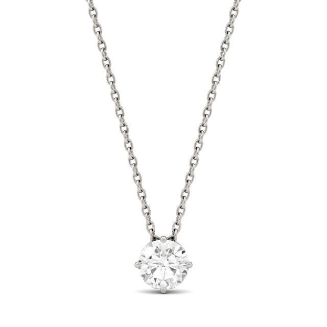 0.50 CTW Round Forever One Moissanite Solitaire Pendant in 14K White Gold