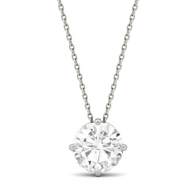 1.90 CTW Round Forever One Moissanite Solitaire Pendant in 14K White Gold