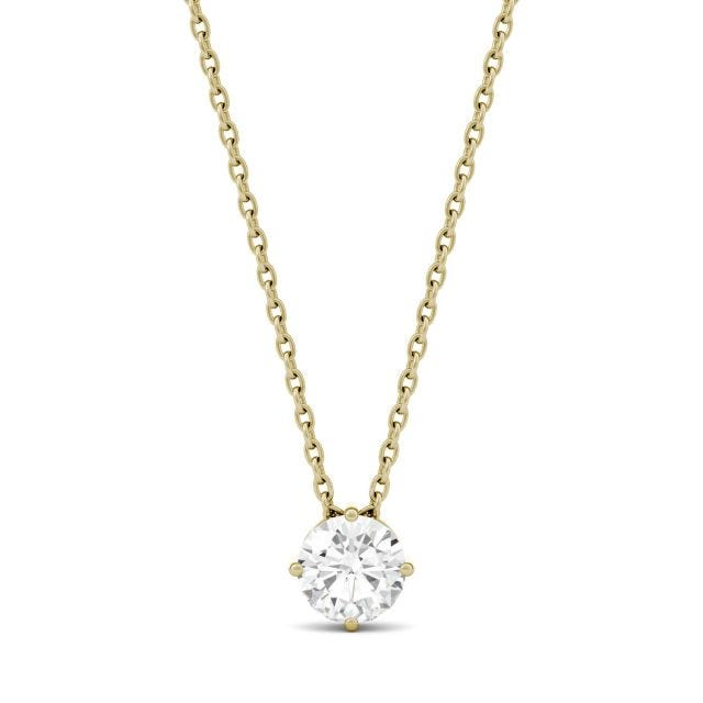 0.50 CTW Round Forever One Moissanite Solitaire Pendant in 14K Yellow Gold
