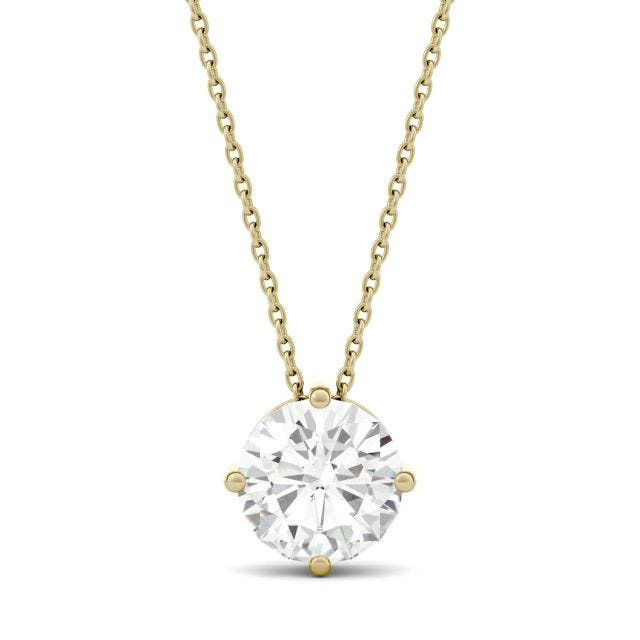 1.90 CTW Round Forever One Moissanite Solitaire Pendant in 14K Yellow Gold