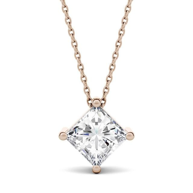 1.50 CTW Princess Forever One Moissanite Solitaire Necklace in 14K Rose Gold