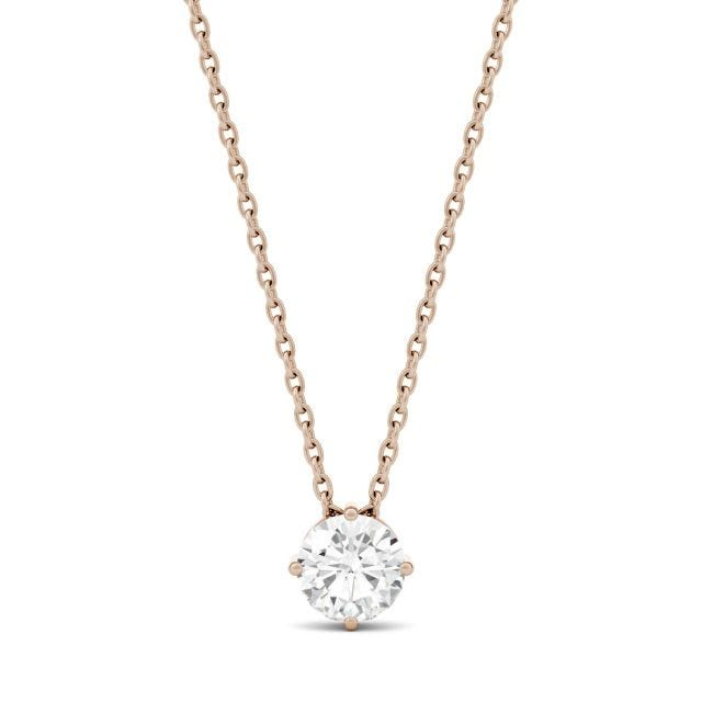 0.50 CTW Round Forever One Moissanite Solitaire Pendant in 14K Rose Gold