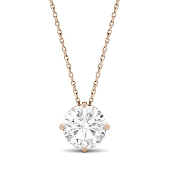 1.90 CTW Round Forever One Moissanite Solitaire Pendant in 14K Rose Gold