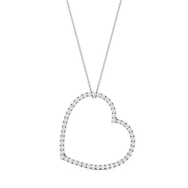 1.00 CTW Round Forever One Moissanite Oversized Heart Necklace in 14K White Gold