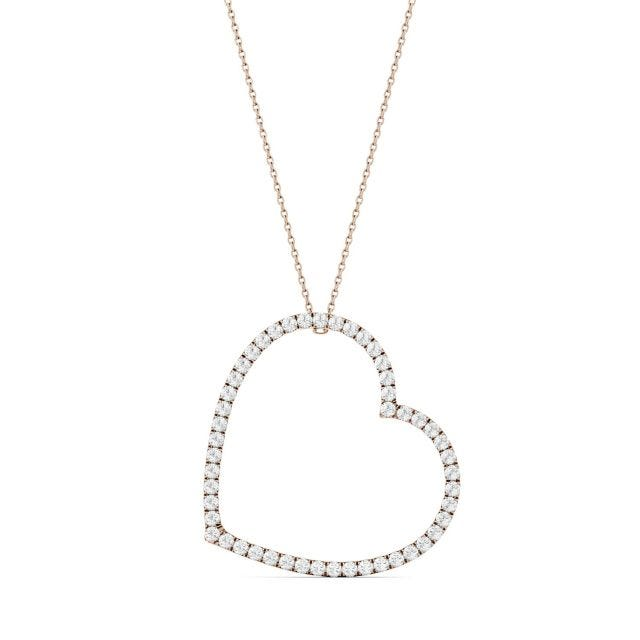 1.00 CTW Round Forever One Moissanite Oversized Heart Necklace in 14K Rose Gold