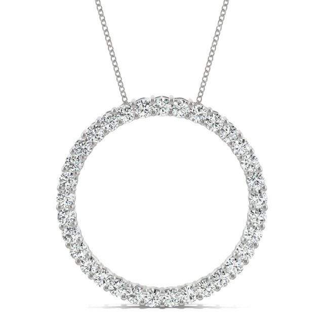 0.49 CTW Round Forever One Moissanite Shared Prong Circle Necklace in 14K White Gold