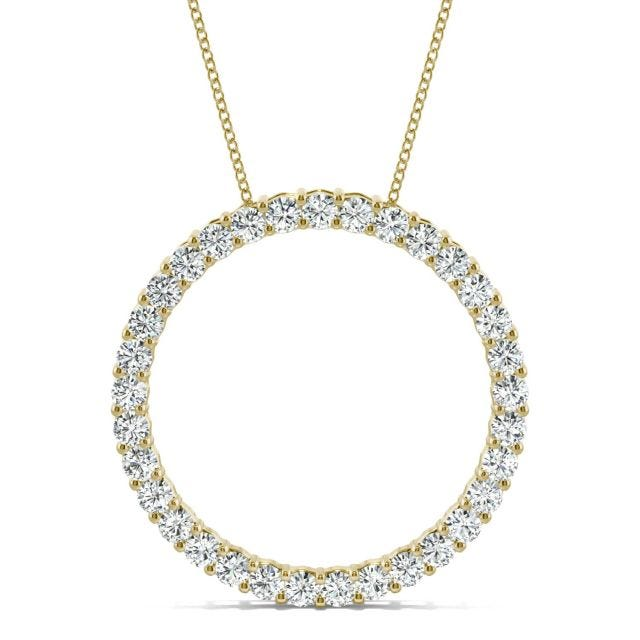 0.49 CTW Round Forever One Moissanite Shared Prong Circle Necklace in 14K Yellow Gold