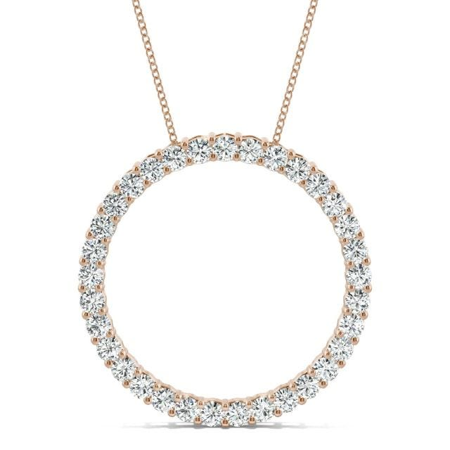 0.49 CTW Round Forever One Moissanite Shared Prong Circle Necklace in 14K Rose Gold