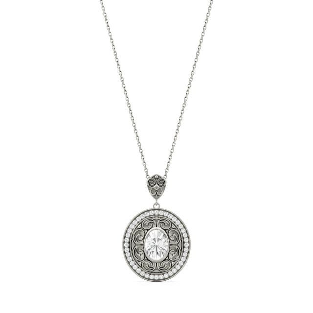 1.70 CTW Oval Forever One Moissanite Oval with Scroll Detail Necklace in 14K White Gold