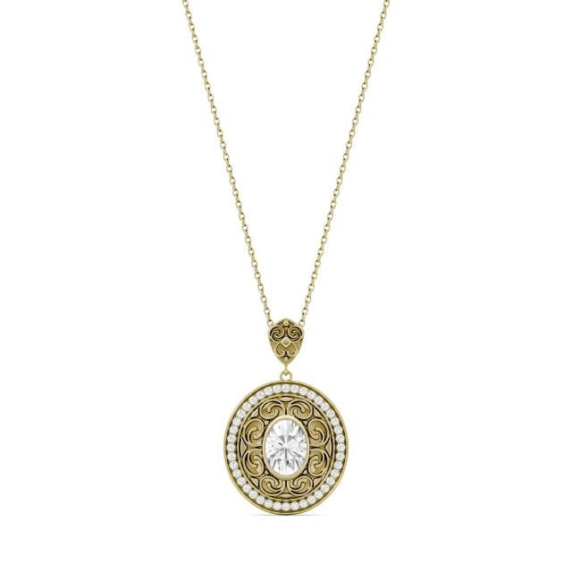 1.70 CTW Oval Forever One Moissanite Oval with Scroll Detail Necklace in 14K Yellow Gold