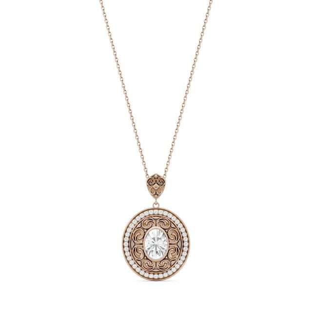1.70 CTW Oval Forever One Moissanite Oval with Scroll Detail Necklace in 14K Rose Gold